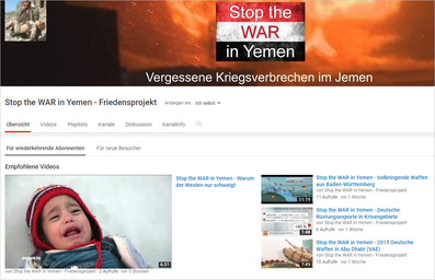 YouTube-Kanal von Stop the WAR in Yemen