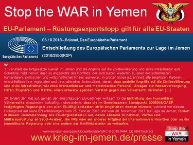 03.10.2018 - Entschließung des Europäischen Parlaments zur Lage im Jemen (2018/2853)