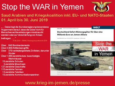 Beihilfe zum Völkermord und Kriegsverbrechen von Deutschland und EU-Ländern, trotz Entschließung 2018/2853 des EU-Parlaments vom 03.12.2018, keine Rüstungsexporte an beteiligte Kriegsländer der saudischen Kriegskoalition zu liefern