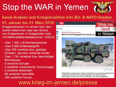 Beihilfe zum Völkermord und Kriegsverbrechen von Deutschland, EU - und NATO-Länder trotz UN-Waffenstillstandsabkommen vom 18.12.2018