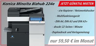 s/w Drucker mieten bei JTB Bürotechnik Konica Minolta Bizhub 224e
