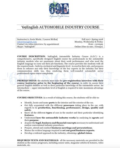 Información Curso Industria Automóvil