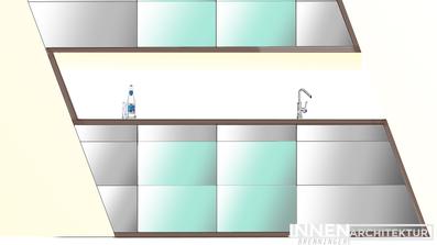 Designerküche Küche modern hochglanz und Glas mit Stollenkontur, Planung Visualisierung Innenarchitektur Brenninger Saxen Bezirk Perg Linz Wien Oberösterreich Niederösterreich