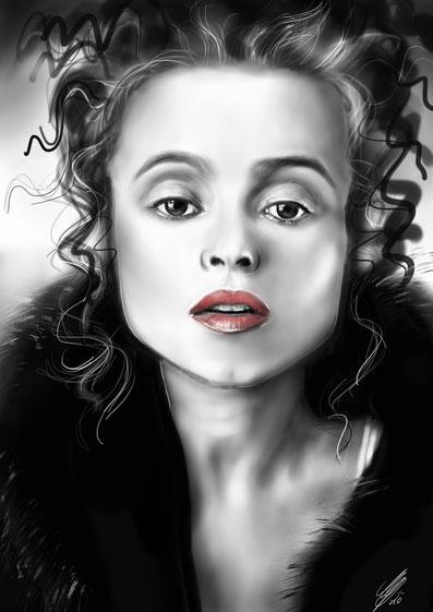 "Helena Bonham Carter ""Lady Helena"", digital art, procreate, 2020"