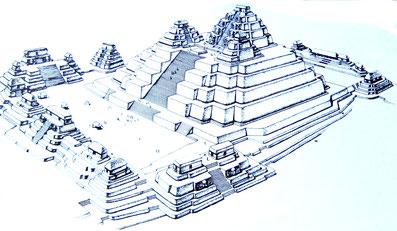 Die Tempel-Pyramide El Tigre, wie sie vermutlich vor 2000 Jahren ausgesehen hat.