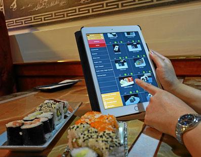 Essen bestellen mit dem Tablet. Einfach die Bilder anklicken.