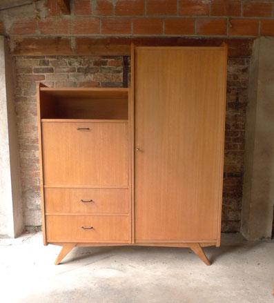 JOLI armoire, penderie, pieds compas, chêne, secrétaire vintage, années 60