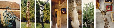 Quelques sculptures qui se trouvaient dans le jardin de Salvatore Gallo en 1996