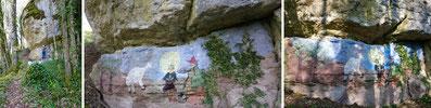 La fresque le matin, à l'ombre et le soir quand la Roche branlante et les arbres portent dessus leurs jeux d'ombre