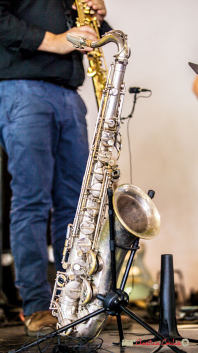 Saxophone d'Alain Coyral, Serge Moulinier Quintet. Festival JAZZ360 2018, Camblanes-et-Meynac. Samedi 9 juin 2018