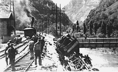 Locomotive sabotée à hauteur de Saint Rambert-en-Bugey