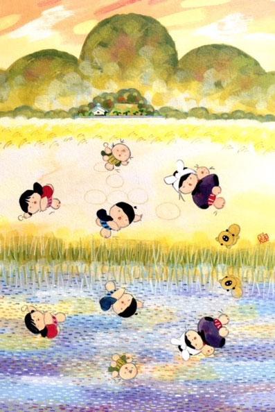 『小さな画集』より「自然の中の遊び」池原昭治・画