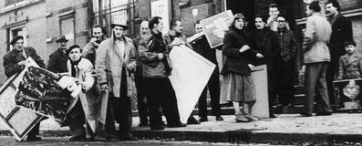 Artisti CoBrA in attesa di esporre al Palais des Beaux Arts di Liegi, 1951.