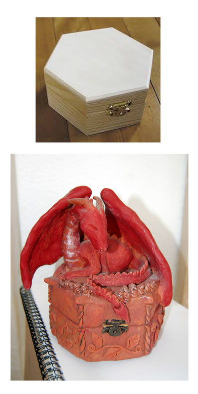 dragon sculpture sculpey box