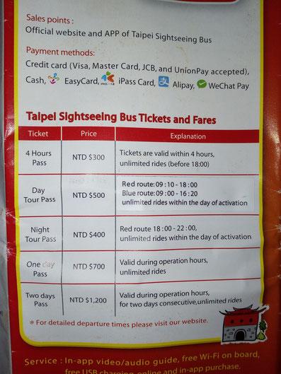 Taipei, Taipeh Bus, Sightseeing, Hopp on hopp off, Busrundfahrt, Informationen über Tickets, Rundfahrt, Tickets, Preise, Rote Strecke, Blaue Strecke, Taiwan, Taiwan 2017, Südost Asien, Asien, Taipei Mainstationen