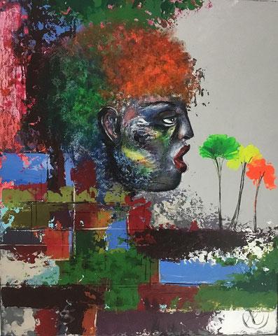 Amazonie  65/46 cm   Acrylique sur toile