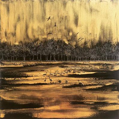 Nature Is Golden  50/50 cm  peinture a l'huile sur toile 2019
