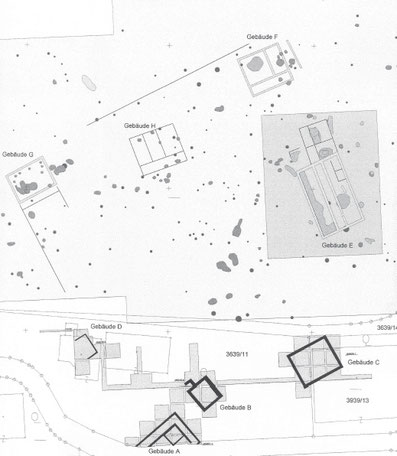 Plan der Grabungen 1988/89, 2008 - 2010 und den umgezeichneten Ergebnissen der geophysikalischen Prospektion vor den bis 2018 andauernden Grabungen. KASTLER 2010.