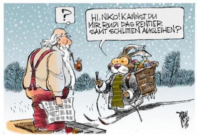 Samichlaus und Osterhase überraschen die Bertschiker. Bild: Website Dorfverein Bertschikon