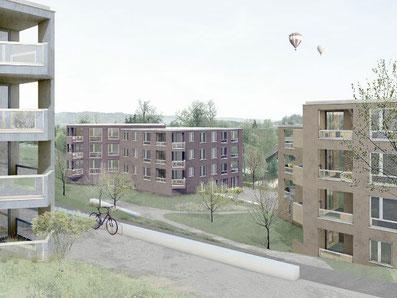 """Bauprojekt """"Oehliweiher"""" in Gossau. Bild: JOM Architekten Zürich"""