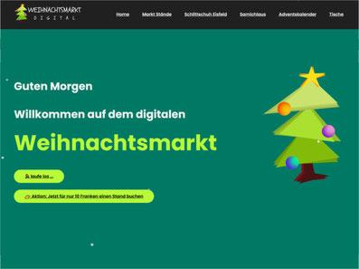 Online-Weihnachtsmarkt von Lino Bertschinger. Bild: www.weihnachtsmarkt-digital.ch