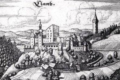 Burg Clam auf einem Kupferstich von Matthäus Merian d.Ä., 1649