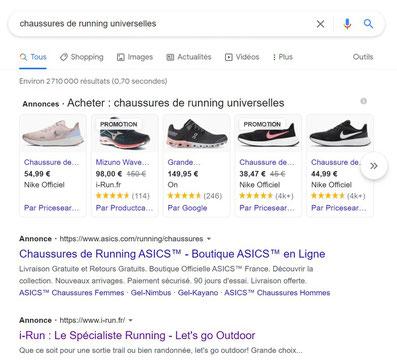 """Annonces Google Ads apparaissant lorsqu'on tape la requête """"chaussures de running universelles"""""""