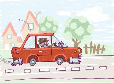 kinderbuch illustration auto