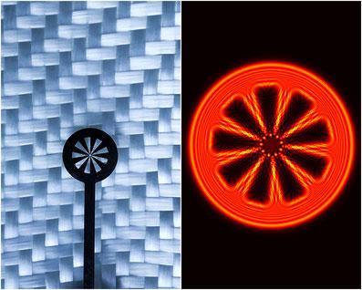 Terahertz-Strahlen erlauben es, ein Objekt (links) durch Textilien hindurch abzubilden, wie die Rekonstruktion rechts zeigt. (Foto: empa)