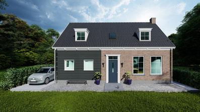 Ontwerp Zeeuwse schuurwoning met garage in Wolphaartsdijk