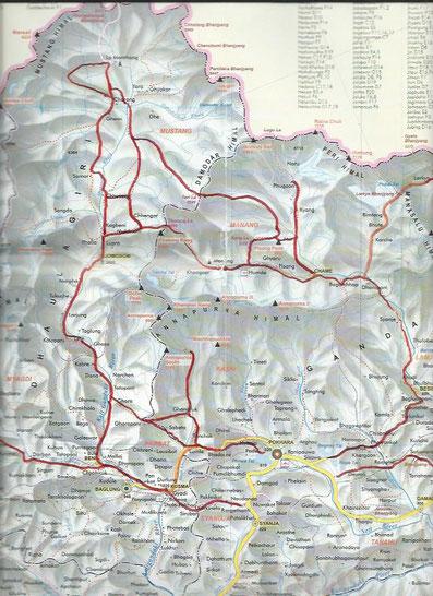 carte de la région de l'Annapurna, Naar, Phu et Mustang