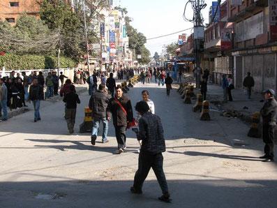 Jour de bandh à l'entrée de Thamel, Katmandou