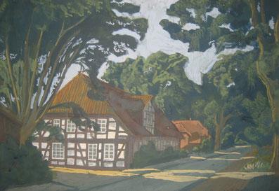 Alter Amtskrug in Bissendorf, gemalt von Ursula Greve