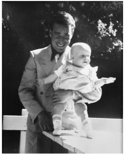 The newly father Martin Meholm, then Mankowitz, carrying his son Freddy on his arm. (private photo taken from original article)