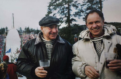 Father and Son. Martin and his son Freddy at the 100 year anniversary of the famous ski-jump Holmenkollen in 1992. Foto (private) and taken from the original article