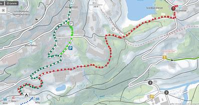 Mit den Skis vom Camping zum Untersee auf den Bus (rot)