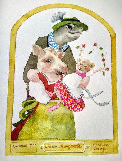 Tapir und Schildkräte mit kleinem Löwenbaby - Auftrag zur Geburt