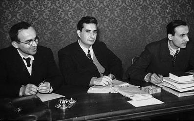 La Pira, Moro e Dossetti ai lavori della Costituente