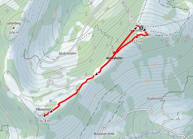 Route von der Bergstation Zwölferhorn auf den Zwölferhorn Gipfel und die Pillsteinhöhe