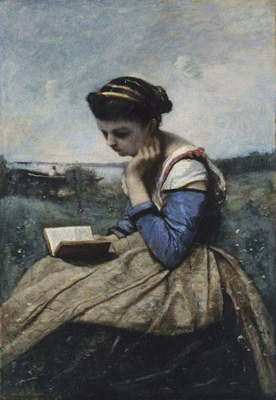 《読書をする女性》1869-1870年