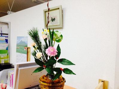受付のお正月花