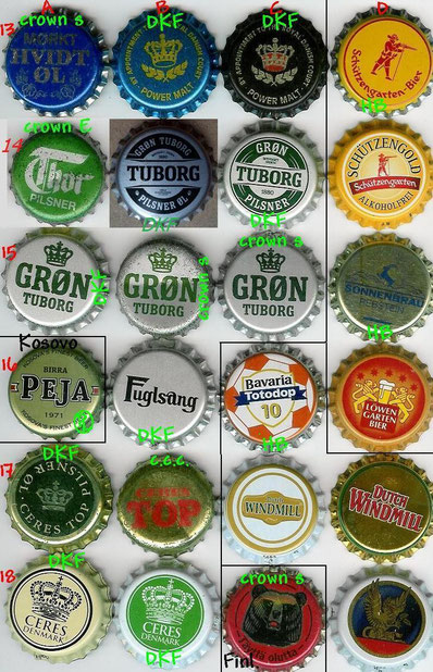European beer caps, row 13-18.