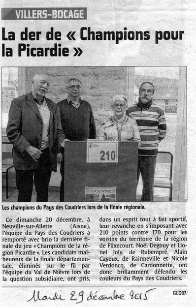 Rencontre régionale organisée par les Foyers ruraux de l'Aisne - Article du Courrier Picard - Décembre 2015