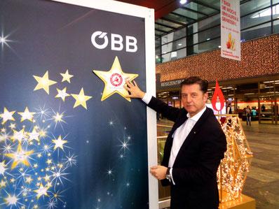Gerhard Hrebicek, ÖBB Hauptbahnhof, Licht ins Dunkel, Sterne Aktion