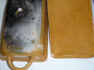 Kohrener Bräter gelbe Keramik Irdenware Hafnerware