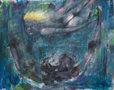Lilly und Flosse, Thomas Krutmann, Öl auf Leinwand