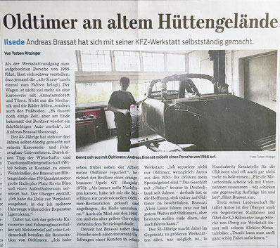 Pressebericht Oldtimer Brassat  Peiner Nachrichten Ilsede