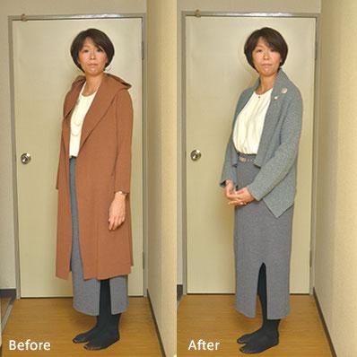 【Before】カジュアルなコートとパールのネックレスの組み合わせから。→【After】 同系色の上下とシンプルなネックレスでシックにまとめ、胸元にアクセントを。細身ベルトの位置ですっきり脚長効果も。