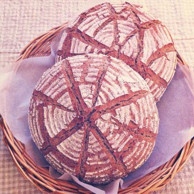 三本木で貴重な小麦を作りつづけている農家さんから、小麦粉を分けていただいて、今、パンを試作しています。上はシラネコムギという品種の小麦粉を使ったパンです。焼きたての香りがすばらしいんですよ〜^^