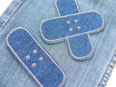 Bild: Bügelflicken Pflaster, Jeansflicken zum aufbügeln, Hosenflicken Hosenpflaster grau